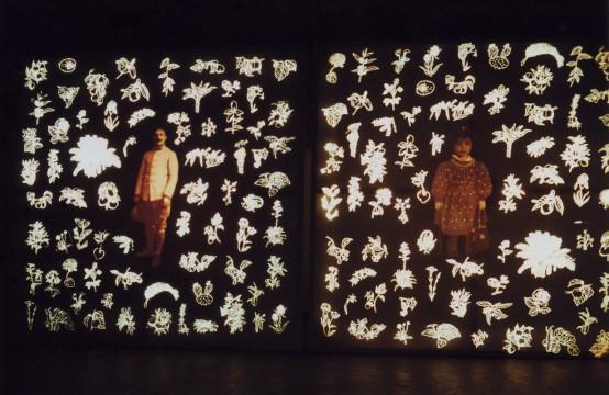 Cécile Ravel - installation - Portraits millefleurs Antoine et Maria